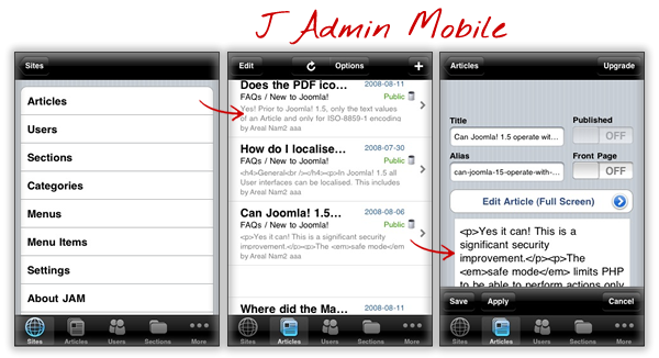 Joomla mobile solutions: J Admin mobile plug-in