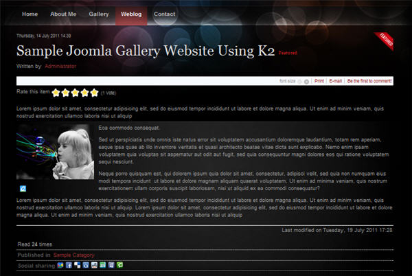 Build Joomla photo gallery website - Weblog Component