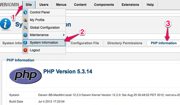 Checking PHP Info right from Joomla