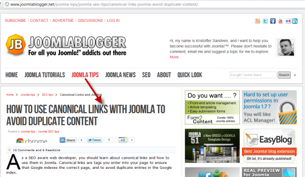joomlablogger: Canonical links with Joomla