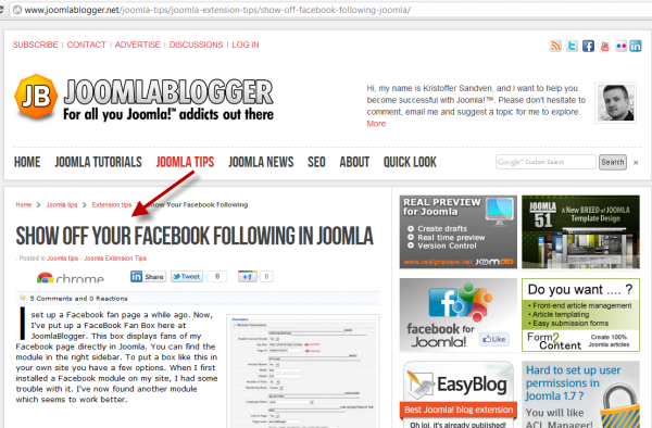 joomlablogger: Show Facebook following in Joomla