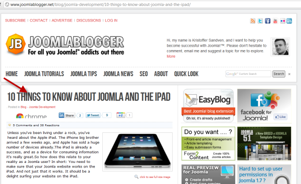 joomlablogger: Joomla and iPad