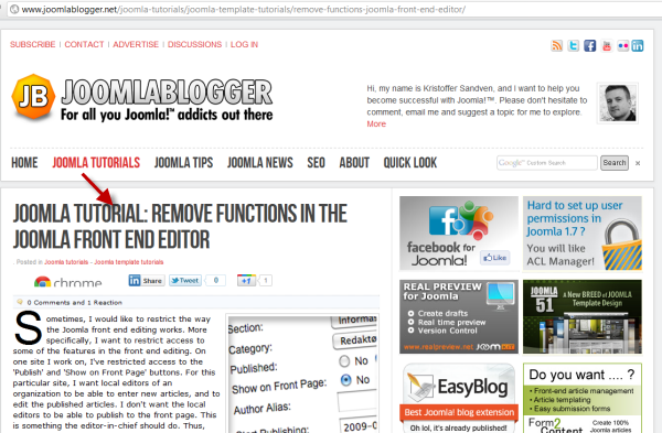 joomlablogger: Remove Joomla functions from the fronted editor