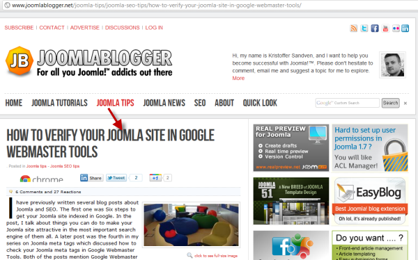 joomlablogger: Verify Joomla site in Google webmaster tools