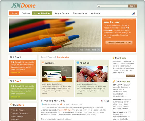 "Screenshot für Template ""JSN Dome"" von www.joomlashine.com"