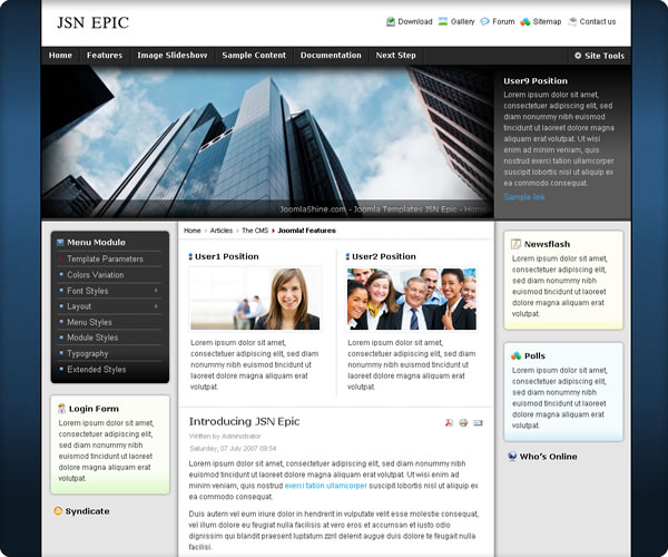 "Screenshot für Template ""JSN Epic"" von www.joomlashine.com"