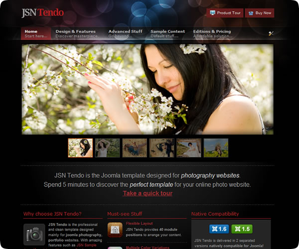 "Screenshot für Template ""JSN Tendo"" von www.joomlashine.com"