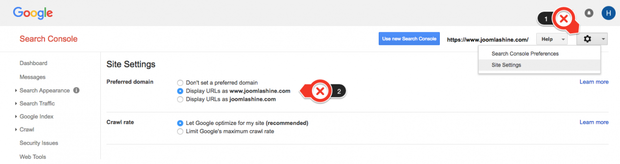 Choose preferred domain in Search Console