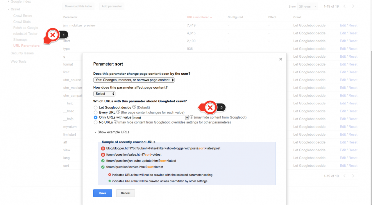 Parameter in Search Console