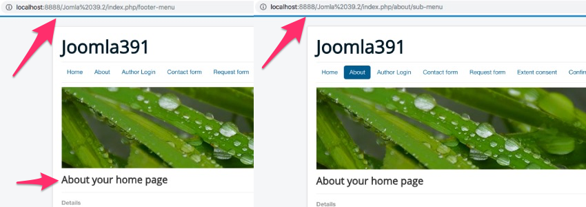Incorrect Joomla menu set-up