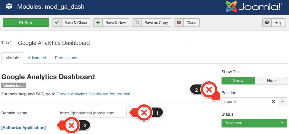 Configure Google Analytic Dashboard setting in Administrator menu
