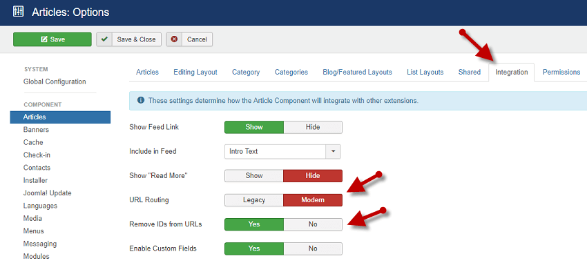 Configure the URL Routing in Integration Tab