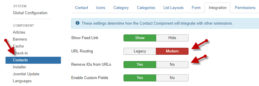 Remove IDs from URLs in Contacts