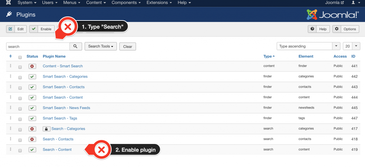 Enable search plugin