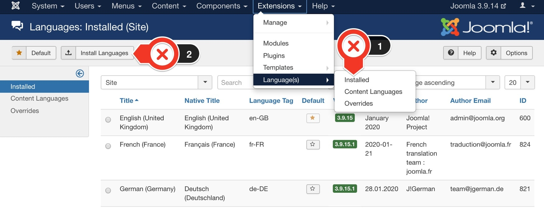 Install new languages In Joomla