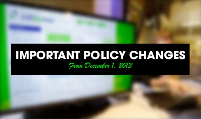 Upcoming important policy changes