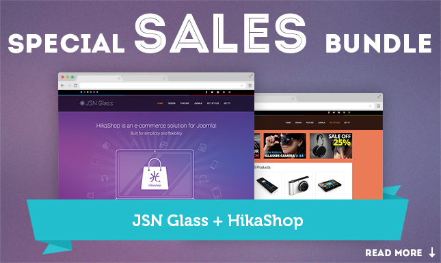JSN Glass template and HikaShop for your intuitive online store. Get a  special sales bundle of these goodies!