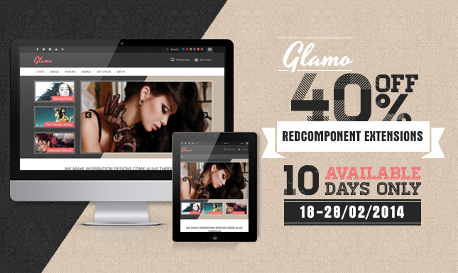 Feminine, fashionable and e-commerce oriented – JSN Glamo released! 40% OFF coupon for the redCOMPONENT extension!