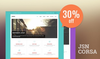 Take a sneak peek at the JSN Corsa template with 5 powerful Joomla extensions supported. Get 30% off NOW!